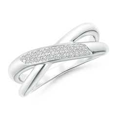 Domed Pave Diamond Studded Crossover Ring