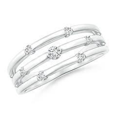 Triple Row Dotted Diamond Orbit Ring