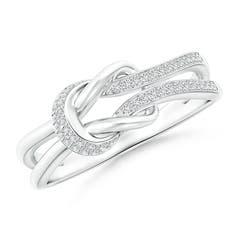 Pave-Set Diamond Split Infinity Knot Ring