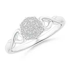 Twisted Heart 2 Heart Diamond Cluster Halo Ring