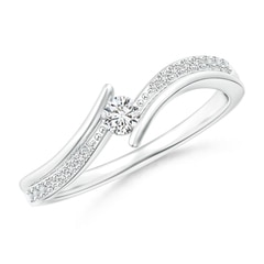 Solitaire Diamond Twin Shank Bypass Ring