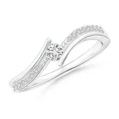 Twin-Shank Diamond Channel-Set Solitaire Bypass Ring
