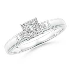 Step-Edged Diamond Square Cluster Engagement Ring