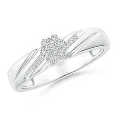 Slanted Channel-Set Diamond Cluster Engagement Ring