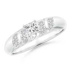 Wavy Grooved Princess-Cut Diamond Solitaire Engagement Ring