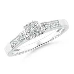 Milgrain-Edged Diamond Square Halo Engagement Ring