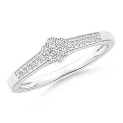 Milgrain-Edged Pave Set Diamond Flower Engagement Ring