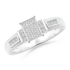 Channel-Set Bar Diamond Rectangle Cluster Engagement Ring
