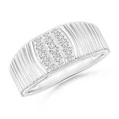 Triple-Row Diamond Vertical Stripe Ring for Him