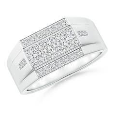 Rectangular Composite Diamond Convex Men's Ring