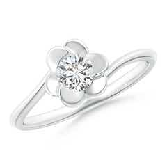 Solitaire Diamond Clover Bypass Ring