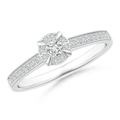Claw-Set Halo Diamond Classic Promise Ring with Milgrain