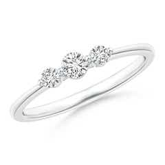 Floating Diamond Three Stone Stackable Ring