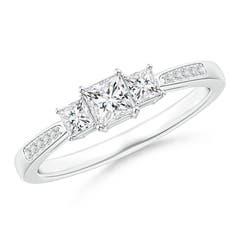 3-Stone Princess Cut Diamond Tapered Ring