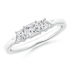 Cross-Motifs Princess-Cut Diamond Three Stone Ring