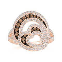 Angara s Brown Diamond Multi-Row Crossover Ring in White Gold NxicLhKG
