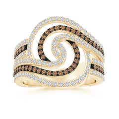 Coffee and White Diamond Swirl Cocktail Ring
