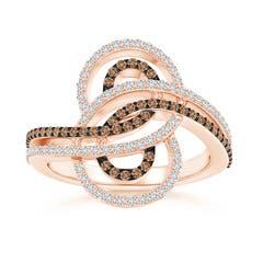 Twin-Row Coffee and White Diamond Modern Infinity Ring