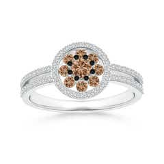 Coffee Diamond Cluster Halo Split Shank Ring