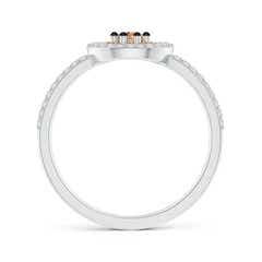 Toggle Coffee Diamond Cluster Halo Split Shank Ring