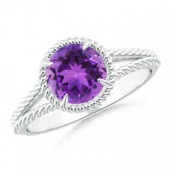 Claw-Set Amethyst Twisted Rope Split Shank Ring