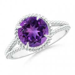 Amethyst Twist Rope Split Shank Ring