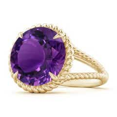 GIA Certified Amethyst Twist Rope Split Shank Ring