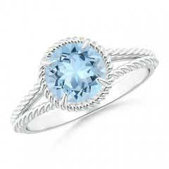 Aquamarine Twist Rope Split Shank Ring