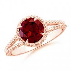Garnet Twist Rope Split Shank Ring