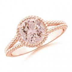 Morganite Twist Rope Split Shank Ring