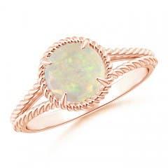 Opal Twist Rope Split Shank Ring