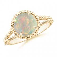 Opal Twist Rope Split Shank Ring