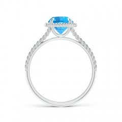 Toggle Swiss Blue Topaz Twist Rope Split Shank Ring