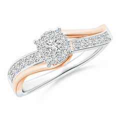 Diamond Cluster Bypass Ring in Two Tone Gold