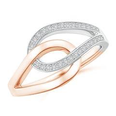Pave Set Diamond Interlocking Loop Two Tone Ring