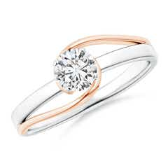 Solitaire Diamond Split Bypass Two Tone Ring