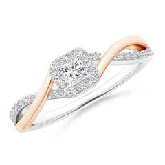 Princess-Cut Diamond Halo Crossover Ring in Two Tone Gold