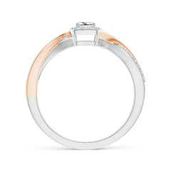 Toggle Princess-Cut Diamond Halo Crossover Ring in Two Tone Gold
