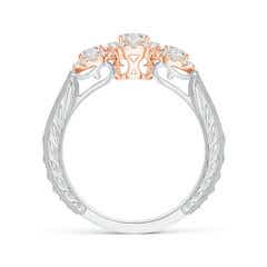 Toggle Three Stone Diamond Halo Ring in Two Tone Gold