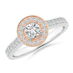 Classic Diamond Halo Cathedral Two Tone Ring with Milgrain