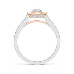Toggle Classic Diamond Halo Cathedral Two Tone Ring with Milgrain