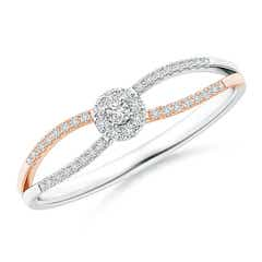 Split Shank Diamond Halo Ring in Two Tone Gold