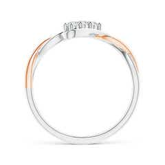 Toggle Slanted Three Stone Diamond Infinity Ring in Two Tone