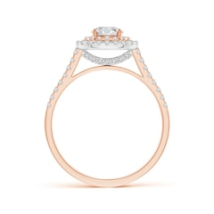 Toggle Double Halo Diamond Cathedral Ring in Two Tone Gold