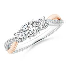Three Stone Diamond Crossover Ring in Two Tone Gold