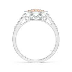 Toggle Cluster Diamond Double Halo Split Shank Ring in Two Tone