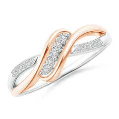 Slanted Five Stone Diamond Bypass Ring in Two Tone