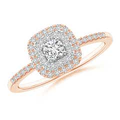 Double Cushion Halo Diamond Ring in Two Tone Gold