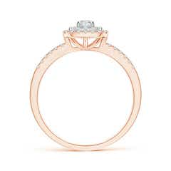 Toggle Double Cushion Halo Diamond Ring in Two Tone Gold