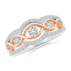 3 Stone Diamond Criss Cross Infinity Ring in Two Tone